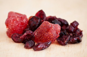 Mix Of Dried Cranberries And Strawberries Close Up