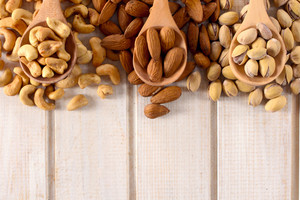 Mixed Nuts On Wooden Spoons