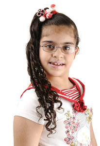 Mixed race adorable cute little school girl portrait, arabic - african - american