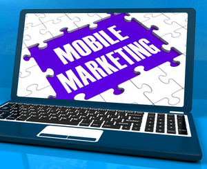 Mobile Marketing On Laptop Shows Online Marketing