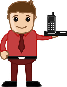 Mobile - Office Character - Vector Illustration