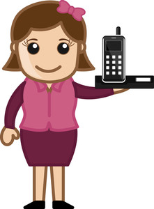 Mobile Phone - Office Character - Vector Illustration