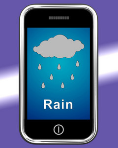 Mobile Phone Shows Rain Weather Forecast