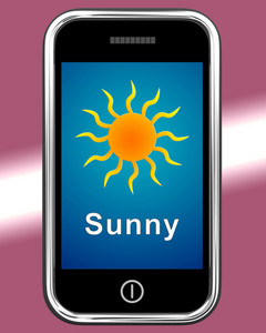 Mobile Phone Shows Sunny Weather Forecast