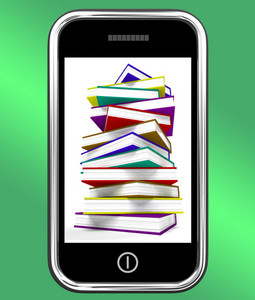 Mobile Phone With Books Shows Online Knowledge