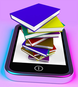 Mobile Phone With Books Stack Shows Online Knowledge