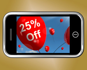 Mobile With 25% Off Sale Discount Balloon