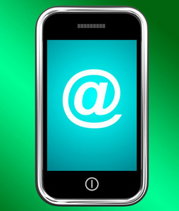 Mobile With At Sign For Emailing Or Contacting