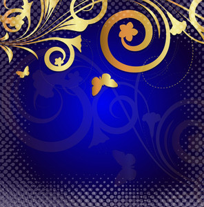 Moder Golden Floral Halftone Background