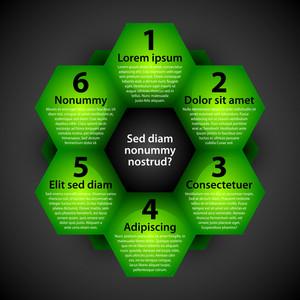 Modern Background With Green Hexagons. Each Shape Represents Option Or Choice.