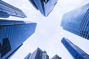 Modern building business to top sky view