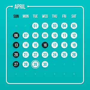 Modern Calendar Template. April 2014. Eps 10.