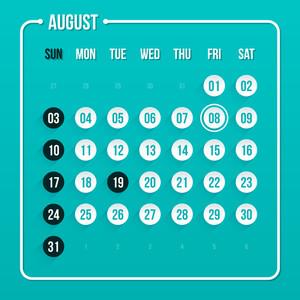 Modern Calendar Template. August 2014. Eps 10.