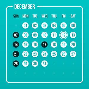 Modern Calendar Template. December 2014. Eps 10.