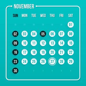 Modern Calendar Template. November 2014. Eps 10.