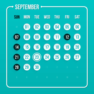 Modern Calendar Template. September 2014. Eps 10.