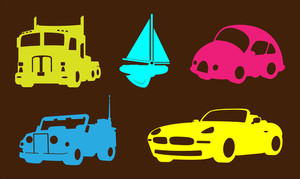 Modern Cars And Boat Shapes