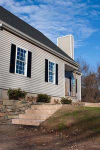 Modern custom built house newly constructed in a residential neighborhood.
