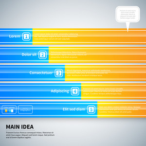 Modern Infographics Layout With 5 Horizontal Banners.