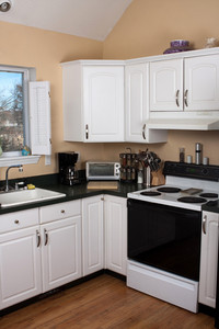 Modern kitchen countertop and appliances.