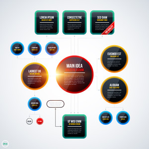 Modern Organization Chart Template With Glowing Lights On White Background. Eps10