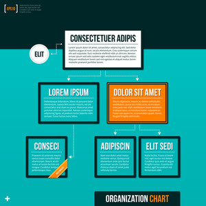 Modern Organizational Chart Template On Turquoise Background. Eps10