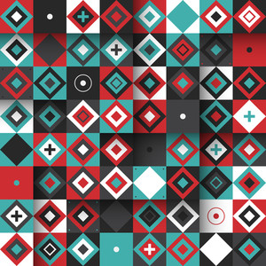 Modern Seamless Pattern With Colorful Squares And Diamonds