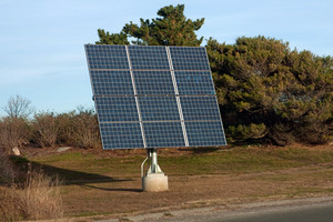 Modern solar panel used for generating electricity from the sunlight.