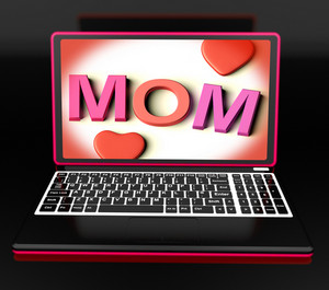Mom On Laptop Showing Digital Card