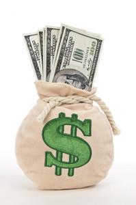 Money Bag Full of Hundreds