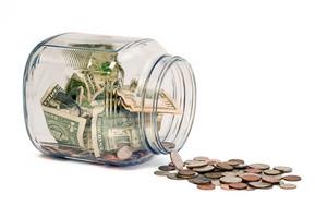 Money Jar Spill On White Background