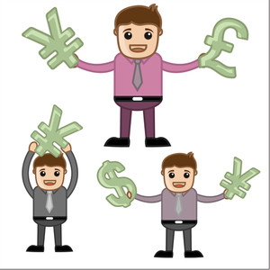Money - Office And Business People Cartoon Character Vector Illustration Concept