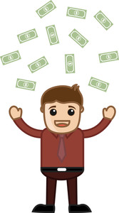 Money Rain - Business Cartoon Character Vector