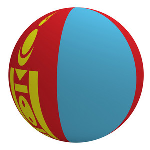 Mongolia Flag On The Ball Isolated On White.