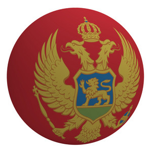 Montenegro Flag On The Ball Isolated On White.