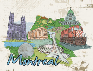 Montreal Doodles With Grunge Vector Illustration
