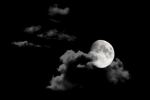 Moon In Night Sky Background