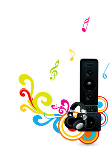 Morden musical system on floral decorated colorful abstract background.
