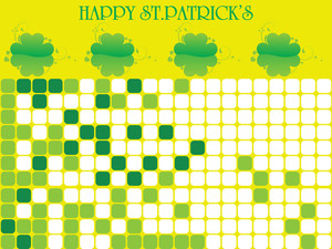 Mosaic Background With Shamrock Flower 17 March