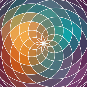 Mosaic Spectrum Color Wheel Made Of Geometric Shapes. Rainbow Color Spectrum Background. Square Composition With Geometric Color Flow Effect.