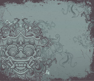 Moster With Floral Vector Illustration