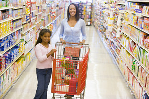 Mother and daughter grocery shopping in supermarket