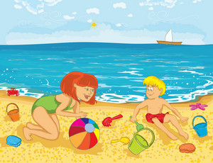 Mother And Kid On The Beach Vector Illustration