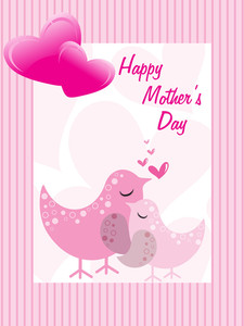 Mother Day Card With Stripes Line Background
