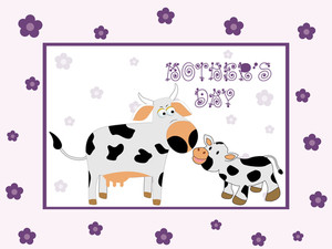 Mother Day Floral Background With Cow