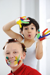 Mother play color hands son kid
