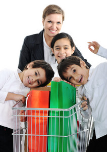 Mother with children in shopping