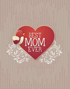 Mother's Day Vector Illustration With Bird, Heart And Flowers
