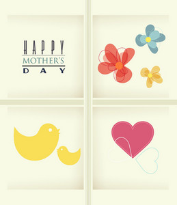 Mother's Day Vector Illustration With Bird, Spring Doodle Flowers And Heart