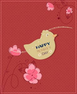 Mother's Day Vector Illustration With Bird Sticker And Doodle Flowers